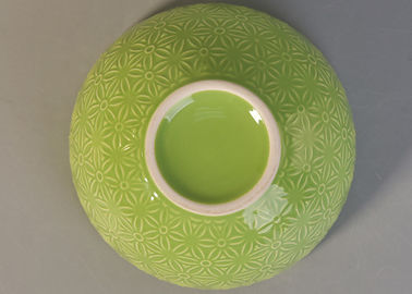 Embossed Print Ceramic Decorating Candle Jars , Candle Making Bowl Light Green Color