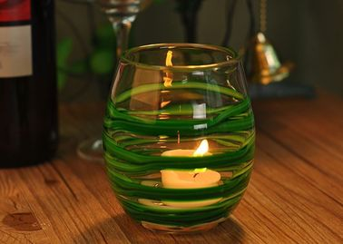 Round Decorative Glassware Bowls Mouth Blown Candle Holder For Home
