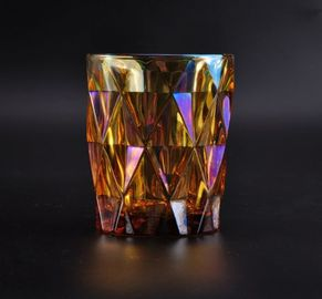 Colorful Glass Candle Jar Decorative Glassware With Color Ion Plating Finish