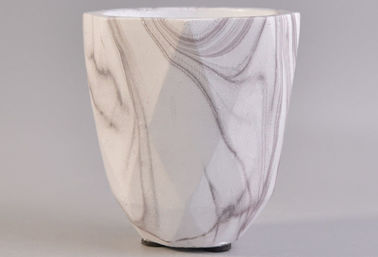 Decorative Votive Concrete Candle Holders With Hydrographics Transfer Printing