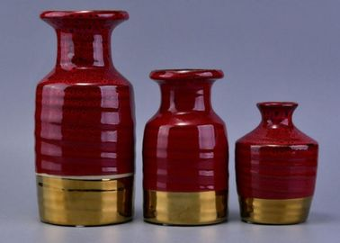Red Luxury Ceramic Reed Diffuser Bottles , Essential Oil Scent Diffuser Bottles