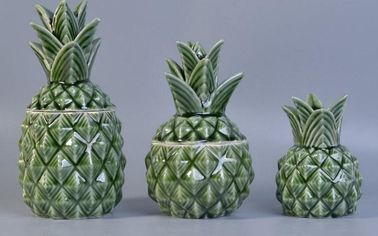 Green Pineapple Ceramic Empty Reed Diffuser Bottles With Leaf Lid 230ml