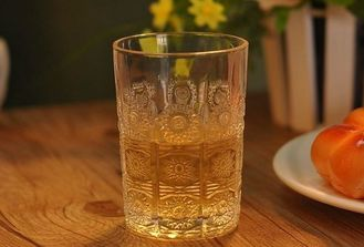 High Class Glass Drinking Cups For Juice / Whiskey / Wine Sun Flower Design