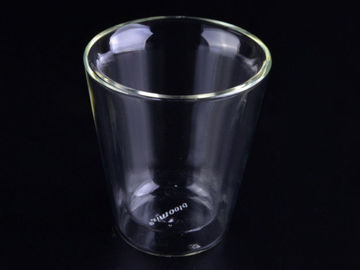 Decal Cute Small Double Wall Borosilicate Glass Mug Mouth Blown Process , Customized Logo