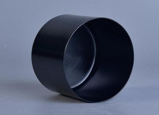 Cylinder Aluminum Metal votive candle jar , Tin Can Candle Holders Black Color