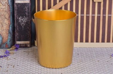 334ml Gold Metal Candle Tin Containers , Aluminum Tin Candle Holders