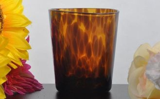 Coloured Glass Tealight Candle Holders , Frosted Glass Candle Jars For Home Fragrance
