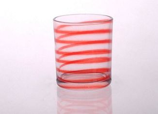 Soda Line Votive Glass Candle Containers Colored Glass Candle Holders For Decorative