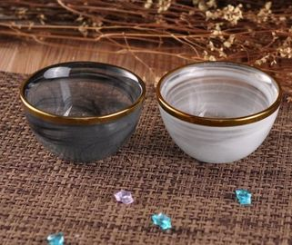 GolEdge Decorative Glassware Bowls For Candle Holding Black / White Color