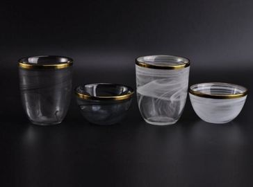 Electroplating Gold Edge Glass Candle Bowls Contianer For Home Fragrance