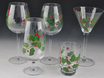 Colorful Hand Decorated Wine Glasses / Glass Stemware For Martini Wine