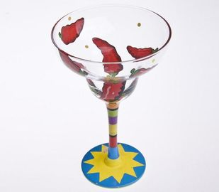Cocktail Hand Painted Glass , Hand Painted Martini Glasses 480ml
