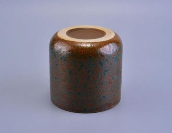 Round Glazing Ceramic Candle Holders / Colored Candle Jars Handmade