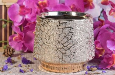 Gold Electroplated Ceramic Flower Candle Holder Container 690ml For Decoration