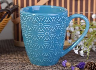 287Ml Ceramic Flower Candle Holder , Blue Glazed Ceramic Drinking Mug Cadmium Free